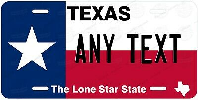 TEXAS FLAG License Plate Novelty Personalized w/ Any Text for Auto ATV Bicycle