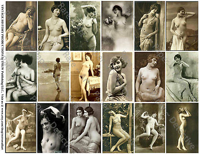 FRENCH NUDES, RISQUE PINUP GIRLS, 18 Stickers, 1 Sheet, Scrapbook & Junk Journal