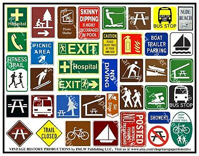 Recreation, Picnic & Boating Travel Signs, Junk Journal Art Stickers, 1 Sheet