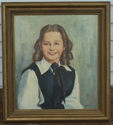 Antique Framed Oil Painting Signed By S.M. Gertrude - Circa 1949 - Girl Portrait