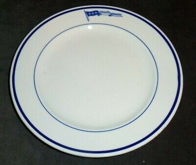 """2 Pcs Vintage US Navy 3 Star Pennant Salad / Luncheon Lunch Plate 9"""" Mayer China"""