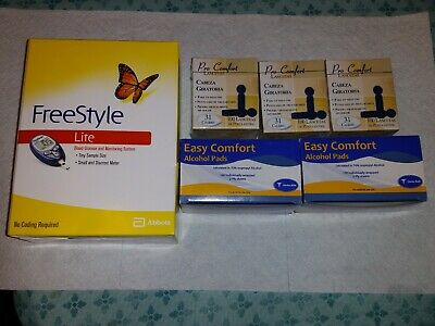 1 FREESTYLE LITE Diabetic Blood Glucose Test Meter 300 Lancets 200 Alcohol Pads