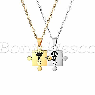 """King and Queen"" Crown Stainless Steel Puzzle Couples Pendant Necklace Chain Set"