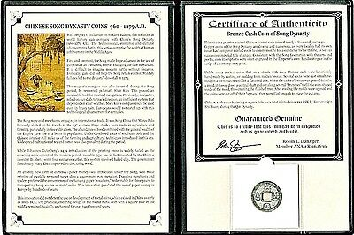 Ancient Chinese Song Dynasty Coin,960-1279 A.D. With Story,Album & Certificate