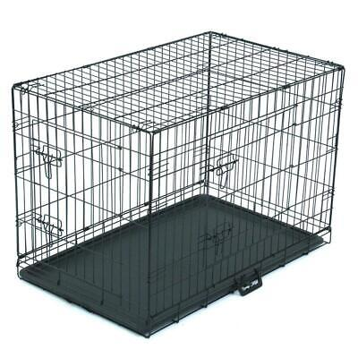 "30"" inch Dog Crate Kennel Cage Heavy Duty Pet Playpen & Tray Black"