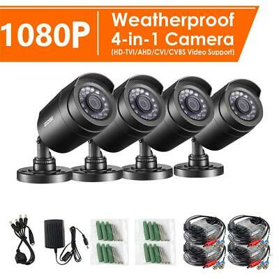 ZOSI 4x 1080p 4in1 Security Camera Video Home CCTV Surveillance Outdoor Bullet