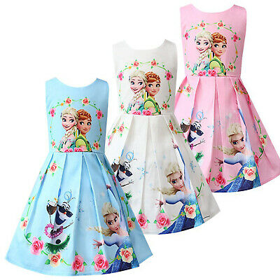 Baby Kid Girls Frozen Anna Elsa Princess Swing Dresses Party Casual Smock Dress
