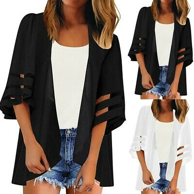 Women Mesh Panel 3/4 Bell Solid Chiffon Casual Loose Kimono Beach Cardigan NA