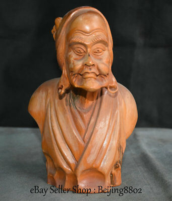 """7.2"""" Rare Old Chinese Boxwood Wood Carved Woman Feme Head Bust Statue Sculpture"""