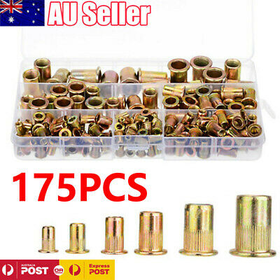 175Pcs Rivet Nut Kit Mixed Zinc Steel Rivnut Insert Nutsert Threaded 3M-10M AU