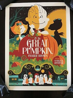 It's The Great Pumpkin Charlie Brown Movie Poster Art Print Tom Whalen Halloween