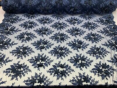Navy Blue_Bridal 3D Flowers Beaded Mesh Embroidered Lace Fabric By Yard/ Floral