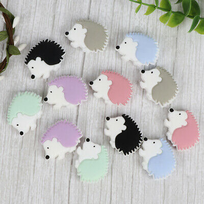 5PC Hedgehog Silicone Teething Beads Baby Teether for Necklace Pacifier Chain