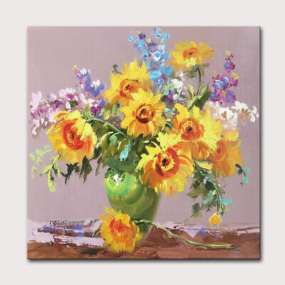 Mintura Hand Painted Oil Paintings on Canvas A Vase of Sunflowers Home Decor Art