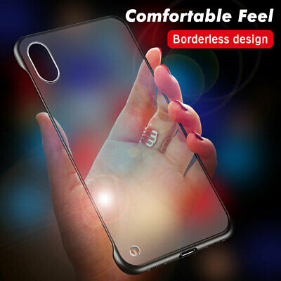 For iPhone XS Max X 6s 7 8 Plus Clear Matte Case Thin Frameless Shockproof Cover
