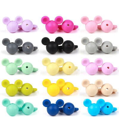 5PC Mickey Head Silicone Loose Beads Baby Teether for Necklace Pacifier Chain