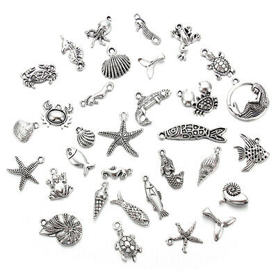 10//40X Random Mixed Antique Silver Sea Fish Crab Shell Animal Charm Pendants DIY