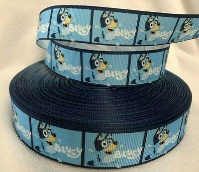 "Grosgrain Ribbon Blue Heeler Bluey 1"" wide sold by 2m - Craft - Cake etc"