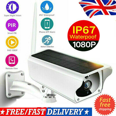 Wireless Solar Outdoor WiFi IP Camera 1080P HD IR Security Webcam Audio CCTV UK