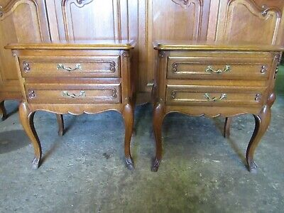 Handsome pair of vintage French carved oak Louis XV bedside cabinets tables