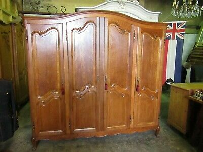 Nice quality French bow top oak Louis XV armoire with Shelves,wardrobe,Flat pack