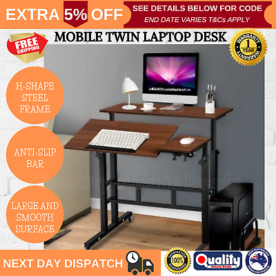 Adjustable Height Computer Table Laptop Standing Desk Mobile Classic Portable AU