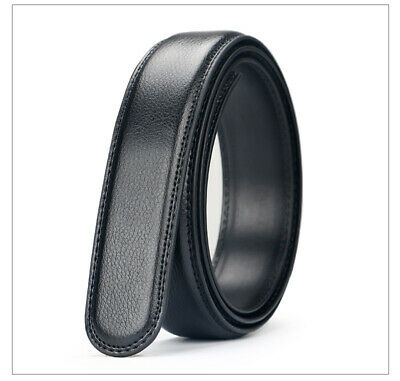 "Men's Genuine Leather Slip Buckle Belt Black 51.18"" Replacement Without Buckle"