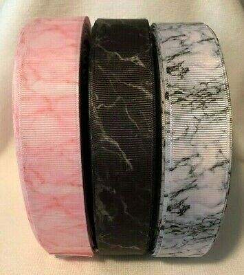"Marble effect Grosgrain Ribbon 3 designs sold by 2m per design 1"" wide - Craft"