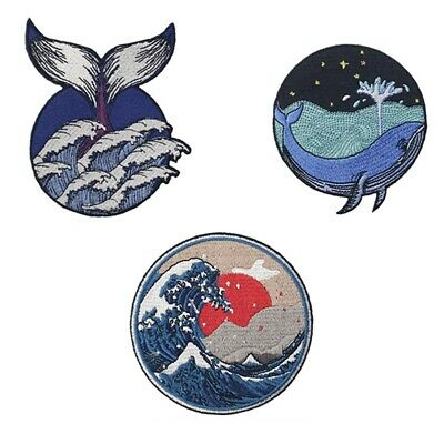 Embroidered Patches Iron Sew On transfers Badge appliques emblems Whale Wave Sea
