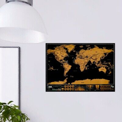 Scratch Off World Map Poster with US States and Europe Country w/ BONUS GIFTS