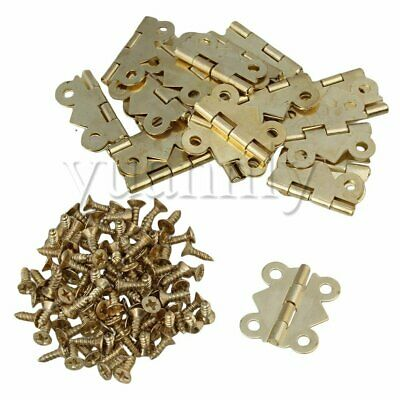 20pcs Golden Tone Iron Mini Butterfly Hinges for Cabinet Drawer Jewelry Box