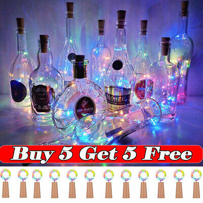 (Buy 5 Get 5 Free,add 10)10/20 LED Bottle Fairy String Lights Battery Cork Shape