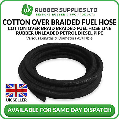 Cotton Over Braided Rubber Fuel Hose Unleaded Petrol Diesel Overbraid