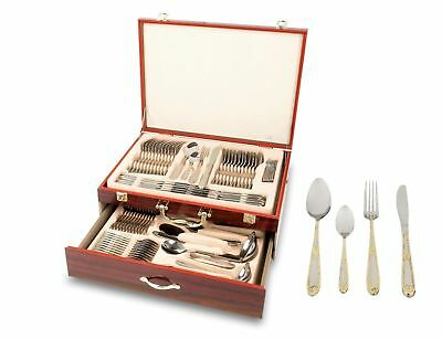 Cutlery 86 Piece Set 18/10 Stainless Steel Silver&Gold High Quality Wood Box043