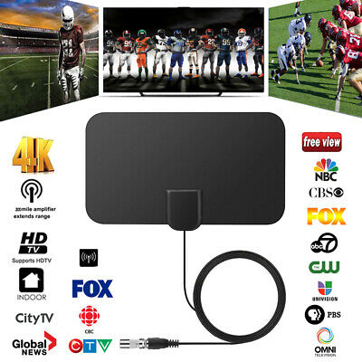 2PCS Thin Flat Indoor Digital TV Antenna 200 Mile Range 1080P Signal Amplifier