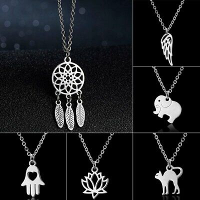 Stainless Steel Silver Mom Heart Cat Wing Flower Necklace Pendant Family Party
