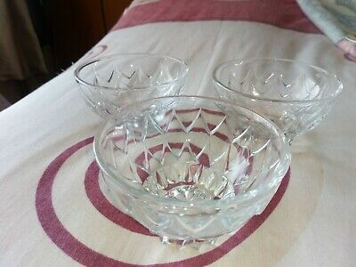 3 GLASS SUNDAE DESSERT SMALL BOWLS 6cm TALL 10cm DIA max  (2 matching 1 similar)