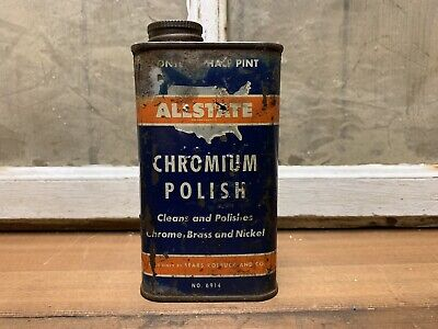 Vintage ALLSTATE Chromium Polish Can Sears Roebuck & Co Old Gas Oil Advertising