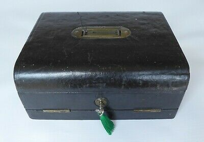 Antique Domed Leather Correspondence / Writing Box