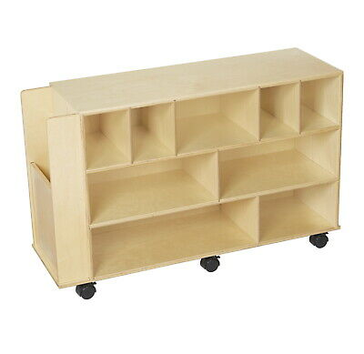 Childcraft Mobile Block Cabinet with End Compartment, 40-1/4 x 13 x 24-7/8