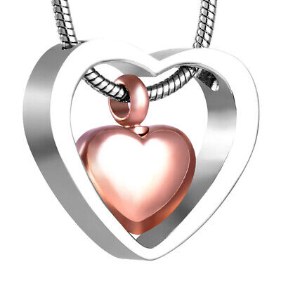 Cremation Pendant Jewellery For Ashes Rose Gold Heart Necklace Keepsake Locket