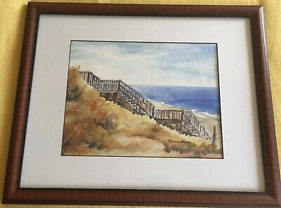 Orig Marvin Olson Watercolor Painting OBX Outer Banks NC Beach Stair Sand Dune