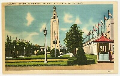 Postcard Rye NY Playland Colonnade Music Tower Westchester County New York Linen