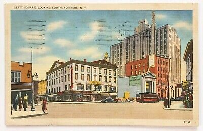 Postcard Yonkers NY Getty Square Looking South Street View New York 1930's Cars