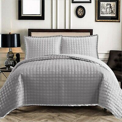 Luxury Grey Bedspread 3 Piece Quilted comforter Single Double King Size Bedding