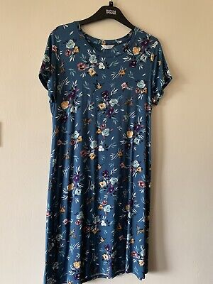 M&S Super Soft Short Sleeved Floral Print Nightdress Size 10 Teal Mix BNWT