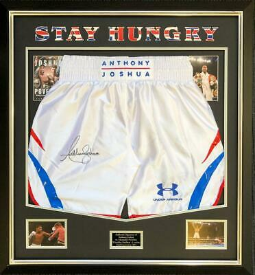 Anthony Joshua SIGNED AUTOGRAPH Boxing Trunks AFTAL UACC RD