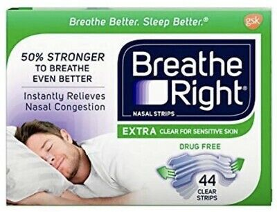 Breathe Right Nasal Strips EXTRA Clear 44 Strips Nasal Congestion Sensitive Skin