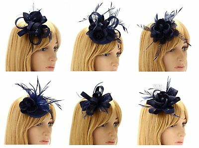 Navy Fascinators On Clip Wedding Prom Ladies Day Races Evening New