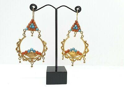 Beautiful Brass Gold Gilded Earring With Gorgeous Turquoise And Coral Stone #12G